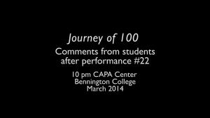 Journey of 100 - #22 Bennington College students